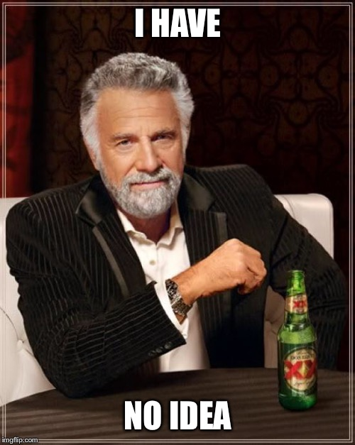 The Most Interesting Man In The World Meme | I HAVE NO IDEA | image tagged in memes,the most interesting man in the world | made w/ Imgflip meme maker
