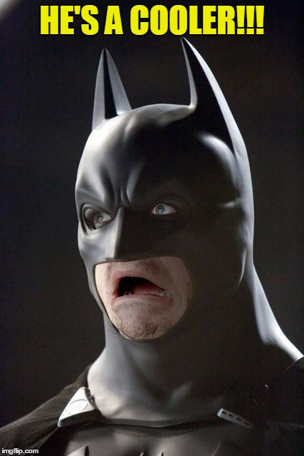 Batman Gasp | HE'S A COOLER!!! | image tagged in batman gasp | made w/ Imgflip meme maker
