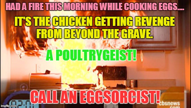 IT'S THE CHICKEN GETTING REVENGE FROM BEYOND THE GRAVE. CALL AN EGGSORCIST! A POULTRYGEIST! HAD A FIRE THIS MORNING WHILE COOKING EGGS.... | image tagged in revenge of the eggs | made w/ Imgflip meme maker