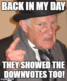 Back In My Day Meme | BACK IN MY DAY THEY SHOWED THE DOWNVOTES TOO! | image tagged in memes,back in my day | made w/ Imgflip meme maker