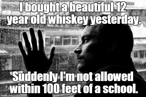 Over Educated Problems Meme | I bought a beautiful 12 year old whiskey yesterday. Suddenly I'm not allowed within 100 feet of a school. | image tagged in memes,over educated problems | made w/ Imgflip meme maker