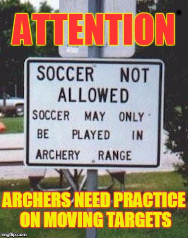 ATTENTION ARCHERS NEED PRACTICE ON MOVING TARGETS | image tagged in target practice | made w/ Imgflip meme maker