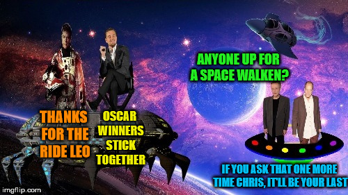 Two Jying Templates from the Second Day of Christmas | THANKS FOR THE RIDE LEO ANYONE UP FOR A SPACE WALKEN? IF YOU ASK THAT ONE MORE TIME CHRIS, IT'LL BE YOUR LAST OSCAR WINNERS STICK TOGETHER | image tagged in purple space memestrocity,leonardo,matt damon in space,christopher walken,woody harrelson,jying | made w/ Imgflip meme maker