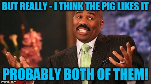 Steve Harvey Meme | BUT REALLY - I THINK THE PIG LIKES IT PROBABLY BOTH OF THEM! | image tagged in memes,steve harvey | made w/ Imgflip meme maker