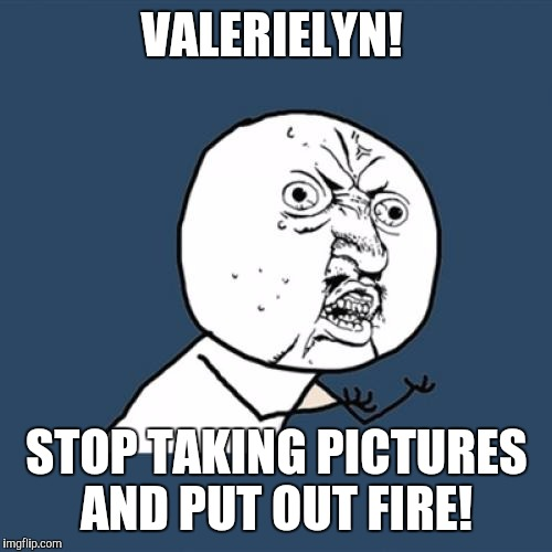 Y U No Meme | VALERIELYN! STOP TAKING PICTURES AND PUT OUT FIRE! | image tagged in memes,y u no | made w/ Imgflip meme maker
