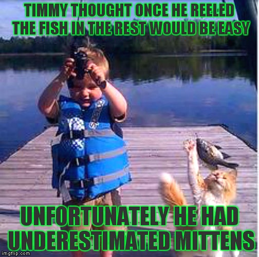 It's situations like this that is the reason they say dogs are mans best friend. | TIMMY THOUGHT ONCE HE REELED THE FISH IN THE REST WOULD BE EASY UNFORTUNATELY HE HAD UNDERESTIMATED MITTENS | image tagged in fishing,fishing for upvotes,cat fight,hungry kids | made w/ Imgflip meme maker