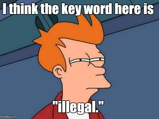 "Futurama Fry Meme | I think the key word here is ""illegal."" 