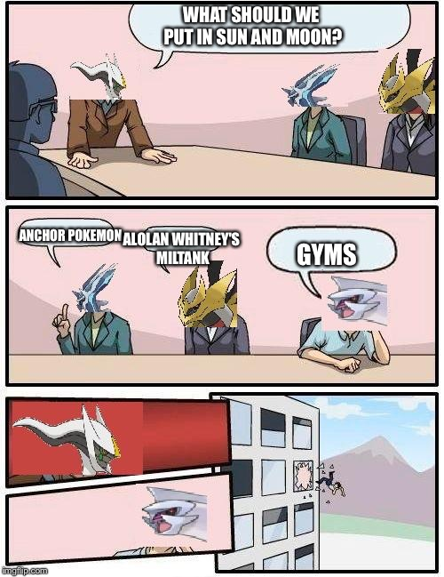pokemon meeting suggestion | WHAT SHOULD WE PUT IN SUN AND MOON? ANCHOR POKEMON ALOLAN WHITNEY'S MILTANK GYMS | image tagged in pokemon meeting suggestion,pokemon sun and moon | made w/ Imgflip meme maker