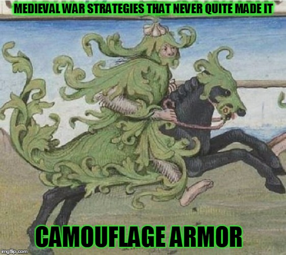 Medieval memes : the warmonger edition | MEDIEVAL WAR STRATEGIES THAT NEVER QUITE MADE IT CAMOUFLAGE ARMOR | image tagged in memes,medieval memes,historical memes,shabbyrose2 meme,knights in armor | made w/ Imgflip meme maker
