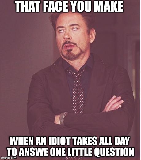 Face You Make Robert Downey Jr Meme | THAT FACE YOU MAKE WHEN AN IDIOT TAKES ALL DAY TO ANSWE ONE LITTLE QUESTION | image tagged in memes,face you make robert downey jr | made w/ Imgflip meme maker