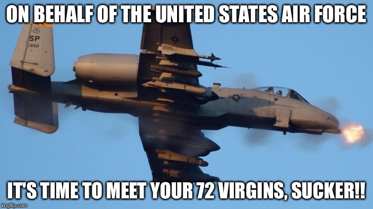 ON BEHALF OF THE UNITED STATES AIR FORCE IT'S TIME TO MEET YOUR 72 VIRGINS, SUCKER!! | image tagged in warthog,air force | made w/ Imgflip meme maker