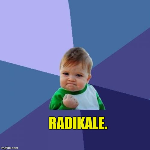 Success Kid Meme | RADIKALE. | image tagged in memes,success kid | made w/ Imgflip meme maker