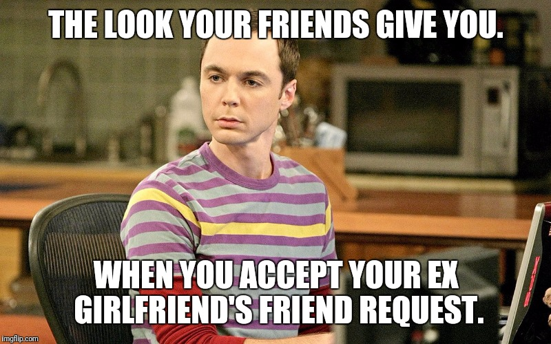 THE LOOK YOUR FRIENDS GIVE YOU. WHEN YOU ACCEPT YOUR EX GIRLFRIEND'S FRIEND REQUEST. | image tagged in sheldon - well that's just terrible | made w/ Imgflip meme maker
