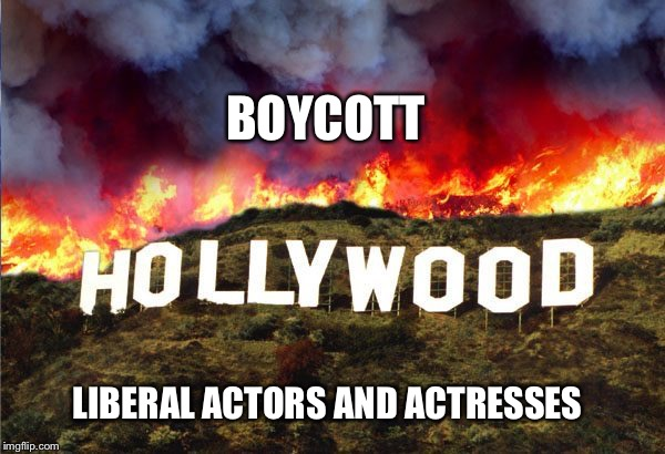 Boycott hollywood |  BOYCOTT; LIBERAL ACTORS AND ACTRESSES | image tagged in boycott,oscars,meryl streep,hollywood,donald trump | made w/ Imgflip meme maker