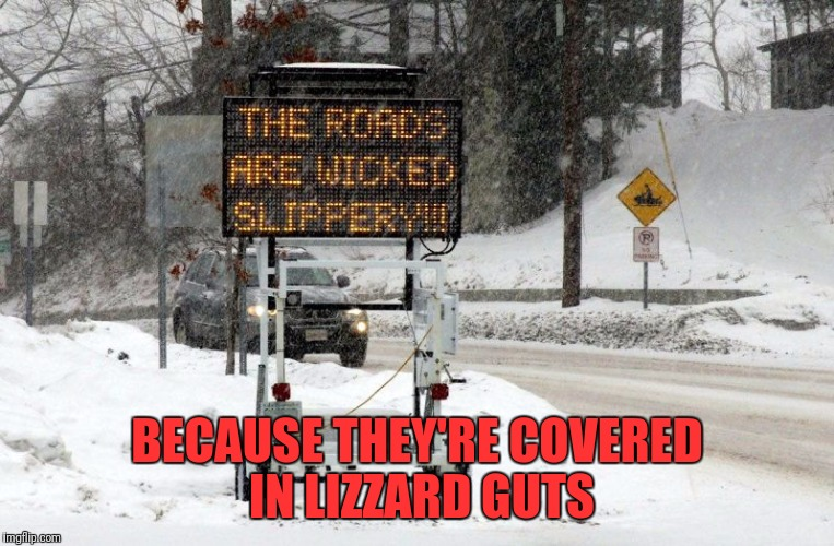 BECAUSE THEY'RE COVERED IN LIZZARD GUTS | made w/ Imgflip meme maker
