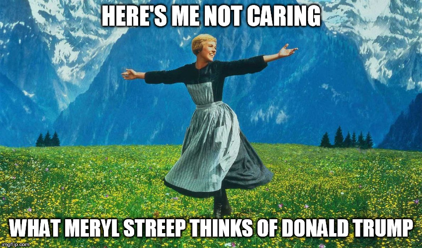 Streep vs. Trump |  HERE'S ME NOT CARING; WHAT MERYL STREEP THINKS OF DONALD TRUMP | image tagged in meryl streep,donald trump,golden globes | made w/ Imgflip meme maker