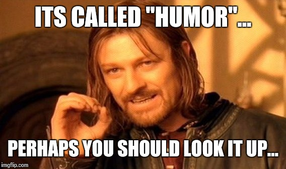 "One Does Not Simply Meme | ITS CALLED ""HUMOR""... PERHAPS YOU SHOULD LOOK IT UP... 