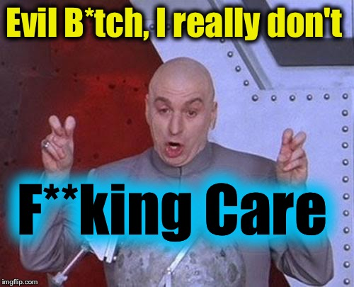 Dr Evil Laser Meme | Evil B*tch, I really don't F**king Care | image tagged in memes,dr evil laser | made w/ Imgflip meme maker