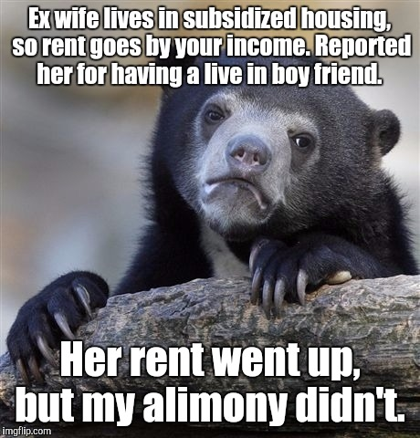 Confession Bear Meme | Ex wife lives in subsidized housing, so rent goes by your income. Reported her for having a live in boy friend. Her rent went up, but my ali | image tagged in memes,confession bear | made w/ Imgflip meme maker
