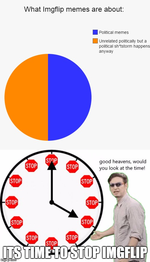 Can we just stop this? Please? Or are all liberals and republicans alike equally annoying? |  ITS TIME TO STOP IMGFLIP | image tagged in imgflip,its time to stop,filthy frank,political,politics,memes | made w/ Imgflip meme maker