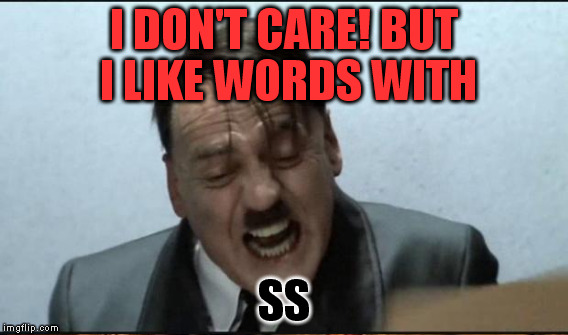 I DON'T CARE! BUT I LIKE WORDS WITH SS | made w/ Imgflip meme maker