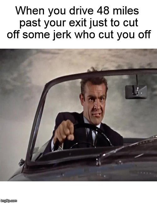Who hasn't done this at least once..... | When you drive 48 miles past your exit just to cut off some jerk who cut you off | image tagged in funny memes,james bond,driving,asshole driver,memes | made w/ Imgflip meme maker