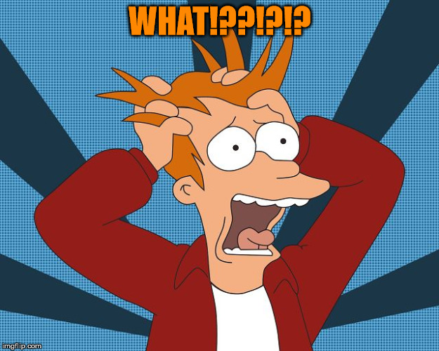 Fry Losing His Mind | WHAT!??!?!? | image tagged in fry losing his mind | made w/ Imgflip meme maker