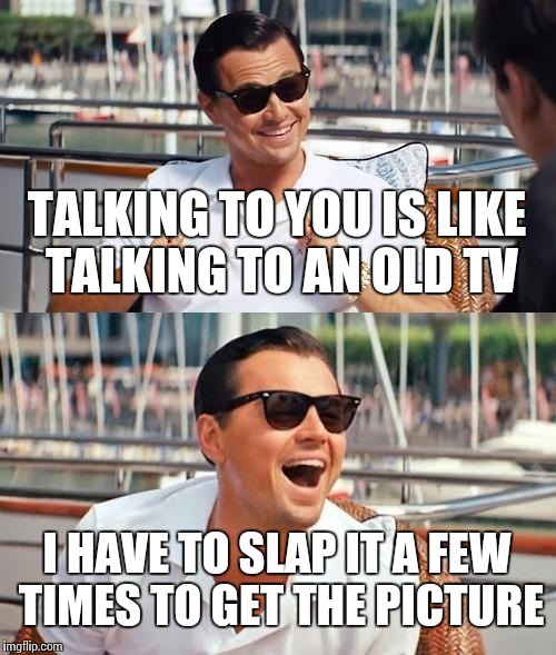 Friend said this to me on Facebook. | TALKING TO YOU IS LIKE TALKING TO AN OLD TV I HAVE TO SLAP IT A FEW TIMES TO GET THE PICTURE | image tagged in memes,leonardo dicaprio wolf of wall street | made w/ Imgflip meme maker