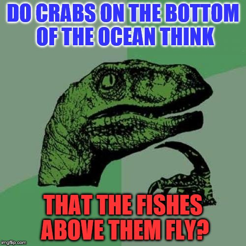 Philosoraptor Meme | DO CRABS ON THE BOTTOM OF THE OCEAN THINK THAT THE FISHES ABOVE THEM FLY? | image tagged in memes,philosoraptor | made w/ Imgflip meme maker
