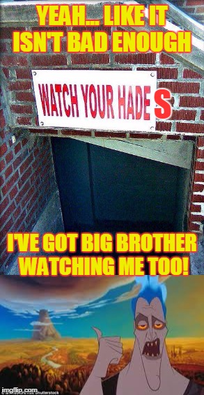 Watching Hades | YEAH... LIKE IT ISN'T BAD ENOUGH I'VE GOT BIG BROTHER WATCHING ME TOO! S | image tagged in funny,hercules hades,big brother | made w/ Imgflip meme maker