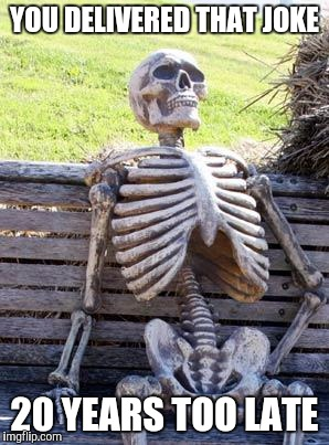 Waiting Skeleton Meme | YOU DELIVERED THAT JOKE 20 YEARS TOO LATE | image tagged in memes,waiting skeleton | made w/ Imgflip meme maker