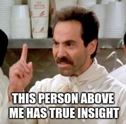 Soup Nazi | THIS PERSON ABOVE ME HAS TRUE INSIGHT | image tagged in soup nazi | made w/ Imgflip meme maker