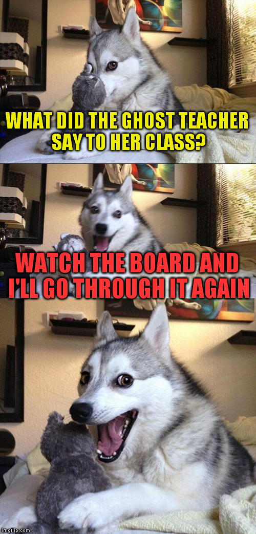 Bad Pun Dog Meme | WHAT DID THE GHOST TEACHER SAY TO HER CLASS? WATCH THE BOARD AND I'LL GO THROUGH IT AGAIN | image tagged in memes,bad pun dog | made w/ Imgflip meme maker