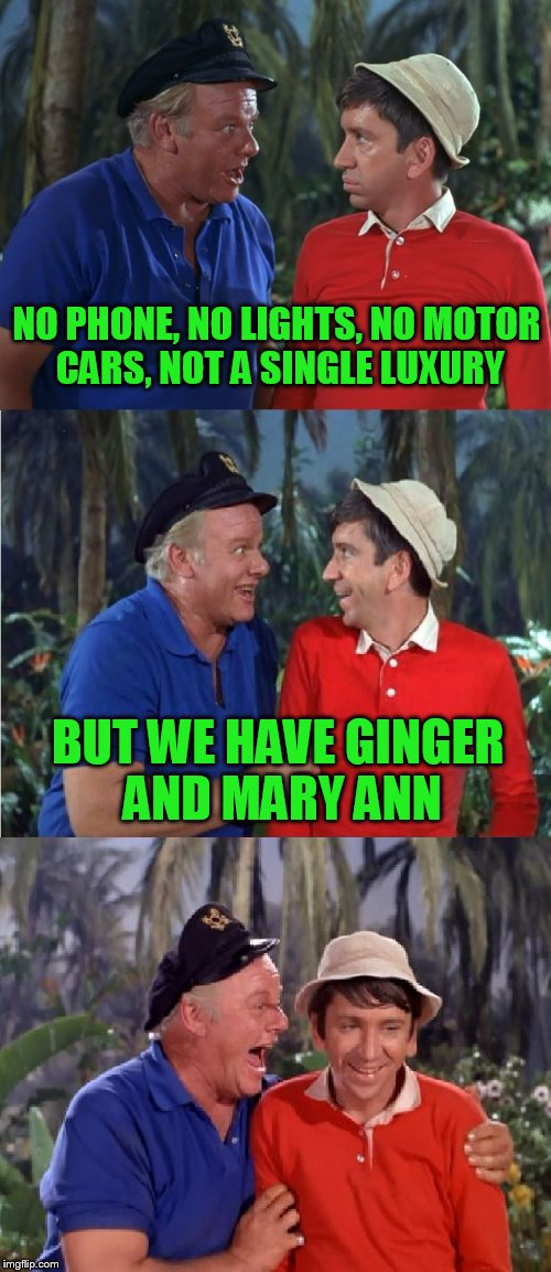 Gilligan Bad Pun | NO PHONE, NO LIGHTS, NO MOTOR CARS, NOT A SINGLE LUXURY BUT WE HAVE GINGER AND MARY ANN | image tagged in gilligan bad pun | made w/ Imgflip meme maker