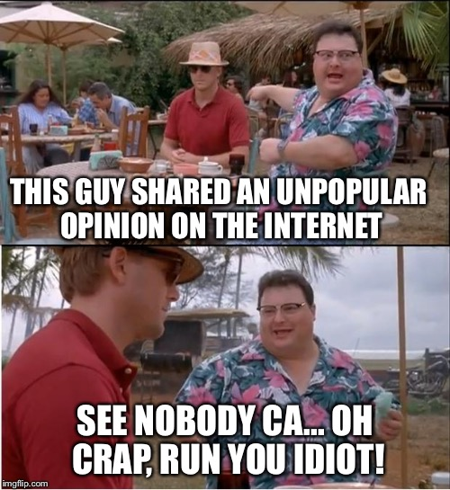 This guy has an unpopular opinion | THIS GUY SHARED AN UNPOPULAR OPINION ON THE INTERNET SEE NOBODY CA... OH CRAP, RUN YOU IDIOT! | image tagged in memes,see nobody cares,unpopular opinion,run you fool,sick day,hold onto your butts | made w/ Imgflip meme maker