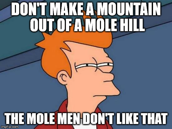 Futurama Fry Meme | DON'T MAKE A MOUNTAIN OUT OF A MOLE HILL THE MOLE MEN DON'T LIKE THAT | image tagged in memes,futurama fry | made w/ Imgflip meme maker