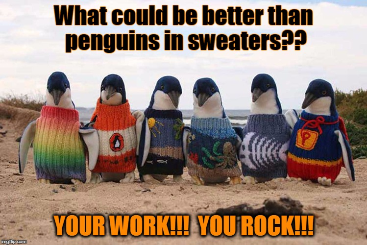 What could be better than penguins in sweaters?? YOUR WORK!!!  YOU ROCK!!! | image tagged in sweater_penguin | made w/ Imgflip meme maker