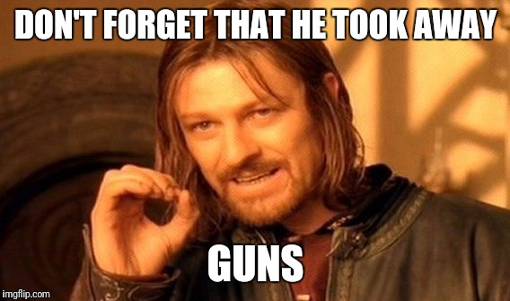 One Does Not Simply Meme | DON'T FORGET THAT HE TOOK AWAY GUNS | image tagged in memes,one does not simply | made w/ Imgflip meme maker