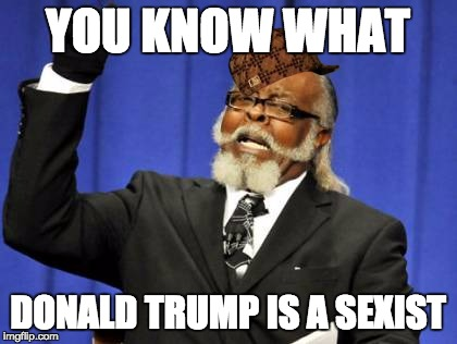 Too Damn High Meme | YOU KNOW WHAT DONALD TRUMP IS A SEXIST | image tagged in memes,too damn high,scumbag | made w/ Imgflip meme maker