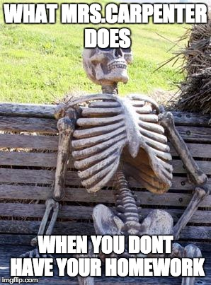 Brodix Wallace 6th period | WHAT MRS.CARPENTER DOES WHEN YOU DONT HAVE YOUR HOMEWORK | image tagged in memes,waiting skeleton | made w/ Imgflip meme maker