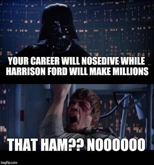 Star Wars No Meme | YOUR CAREER WILL NOSEDIVE WHILE HARRISON FORD WILL MAKE MILLIONS THAT HAM?? NOOOOOO | image tagged in memes,star wars no | made w/ Imgflip meme maker