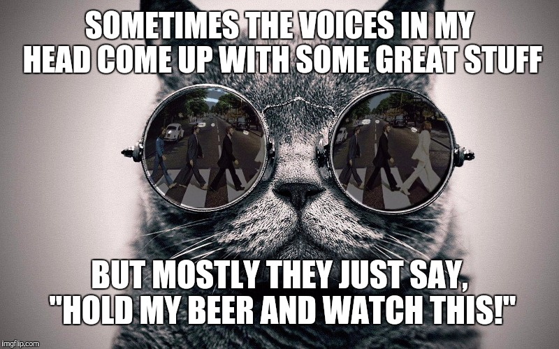 "People ask me where I get my ideas. I used to get them from a small firm in Schenectady. Now I have a staff. | SOMETIMES THE VOICES IN MY HEAD COME UP WITH SOME GREAT STUFF BUT MOSTLY THEY JUST SAY, ""HOLD MY BEER AND WATCH THIS!"" 