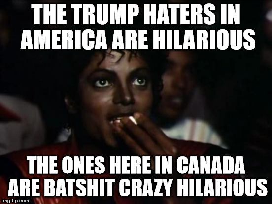 THE TRUMP HATERS IN AMERICA ARE HILARIOUS THE ONES HERE IN CANADA ARE BATSHIT CRAZY HILARIOUS | made w/ Imgflip meme maker