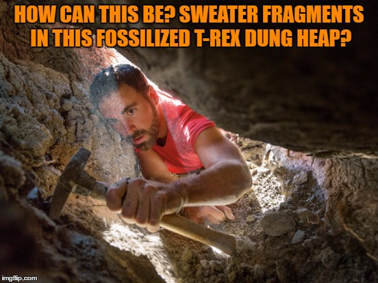 HOW CAN THIS BE? SWEATER FRAGMENTS IN THIS FOSSILIZED T-REX DUNG HEAP? | made w/ Imgflip meme maker