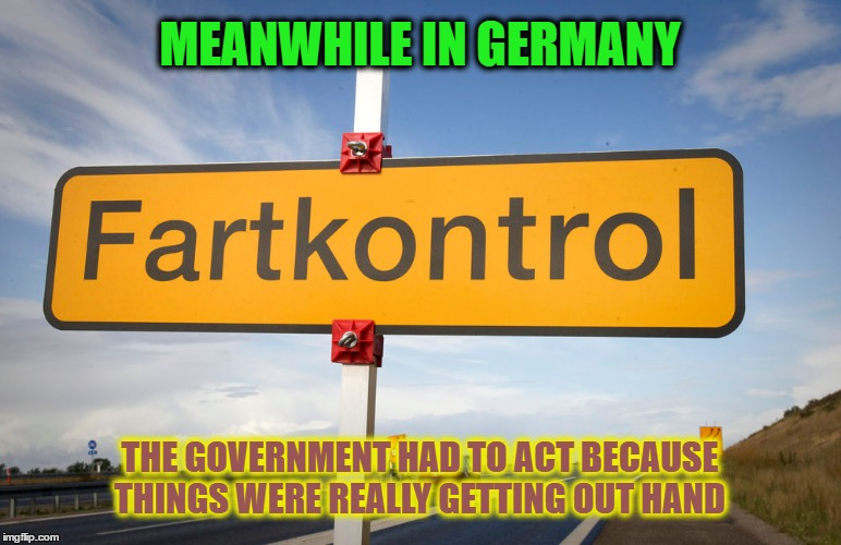 Fartkontrol | MEANWHILE IN GERMANY THE GOVERNMENT HAD TO ACT BECAUSE THINGS WERE REALLY GETTING OUT HAND | image tagged in memes,funny,wmp,fart,farts,farting | made w/ Imgflip meme maker
