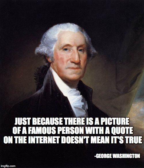 George Washington | JUST BECAUSE THERE IS A PICTURE OF A FAMOUS PERSON WITH A QUOTE ON THE INTERNET DOESN'T MEAN IT'S TRUE -GEORGE WASHINGTON | image tagged in memes,george washington | made w/ Imgflip meme maker