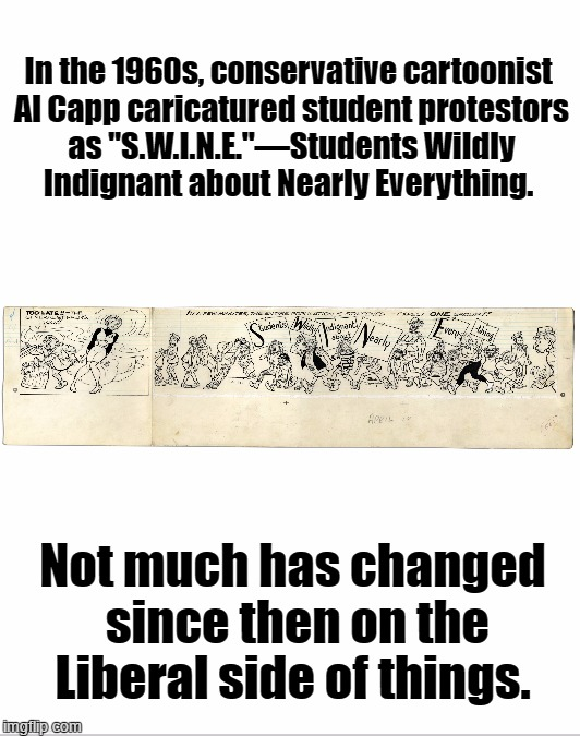 "S.W.I.N.E. | In the 1960s, conservative cartoonist Al Capp caricatured student protestors as ""S.W.I.N.E.""—Students Wildly Indignant about Nearly Everythi 