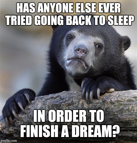 I hate waking up | HAS ANYONE ELSE EVER TRIED GOING BACK TO SLEEP IN ORDER TO FINISH A DREAM? | image tagged in memes,confession bear | made w/ Imgflip meme maker