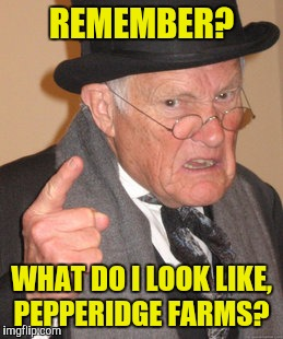 Back In My Day Meme | REMEMBER? WHAT DO I LOOK LIKE, PEPPERIDGE FARMS? | image tagged in memes,back in my day | made w/ Imgflip meme maker