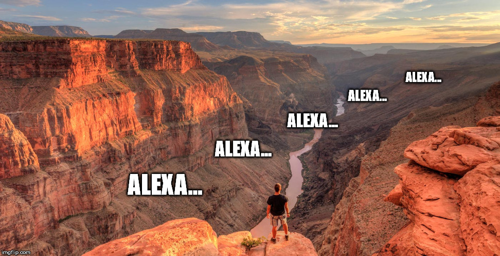 WARNING:  Don't use your Echo at the Grand Canyon | ALEXA... ALEXA... ALEXA... ALEXA... ALEXA... | image tagged in grand canyon,amazon echo | made w/ Imgflip meme maker